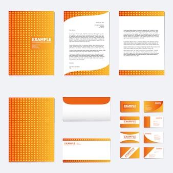 Conjunto de modelo de papel de negócios com bolinhas na laranja