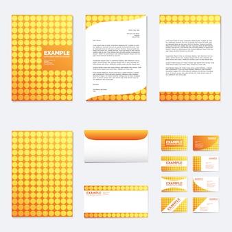 Conjunto de modelo de papel de negócios com círculo em laranja