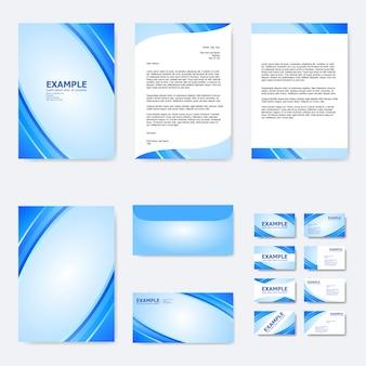 Conjunto de modelo de papel de negócios com linha curva abstrata em azul