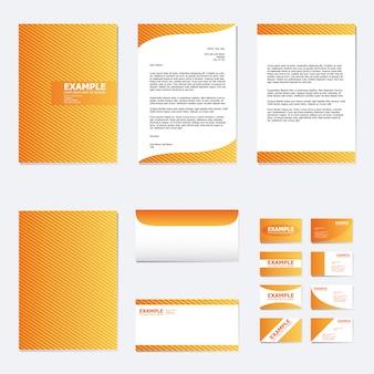 Conjunto de modelo de papel de negócios com linha de listra na laranja