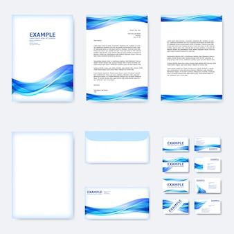 Conjunto de modelo de papel de negócios com onda curva abstrata em azul