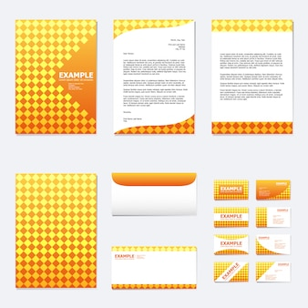 Conjunto de modelo de papel de negócios com quadrado na laranja