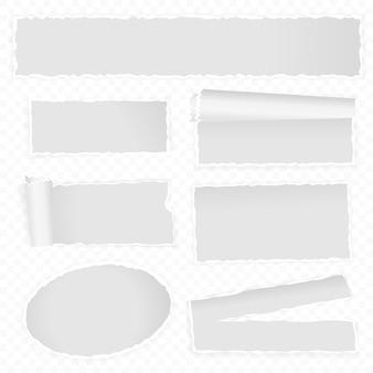 Conjunto de modelo de papel rasgado realista