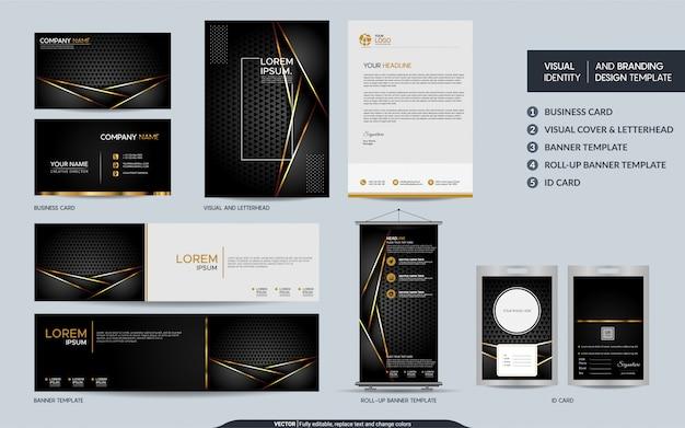 Conjunto de modelo de papelaria de ouro preto de luxo e identidade visual da marca com camadas de sobreposição abstratas.