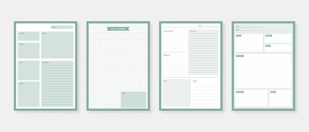 Conjunto de modelo de planejador moderno. conjunto de planejador e lista de tarefas. modelo de planejador mensal, semanal e diário.