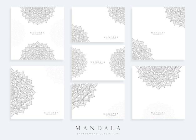 Conjunto de modelo de plano de fundo de mandala com modelo de cartão de mandala