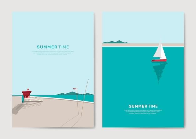 Conjunto de modelo de plano de fundo de praia verão