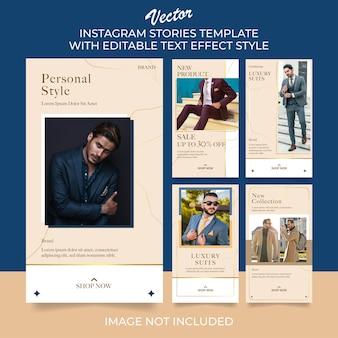 Conjunto de modelo de postagem de histórias do instagram de moda masculina