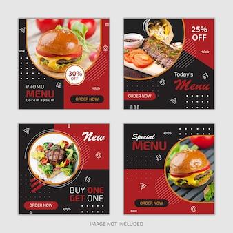 Conjunto de modelo de postagem de mídia social culinária