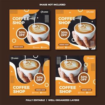Conjunto de modelo de postagem de mídia social de café.