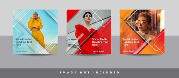 Conjunto de modelo de postagem de mídia social moderna