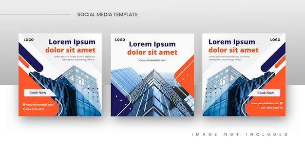 Conjunto de modelo de postagem de mídia social quadrada de imóveis