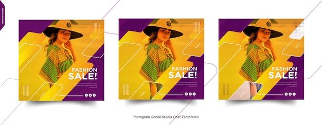 Conjunto de modelo de postagem de moda instagram