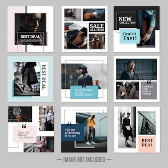 Conjunto de modelo de posts de mídia social de moda