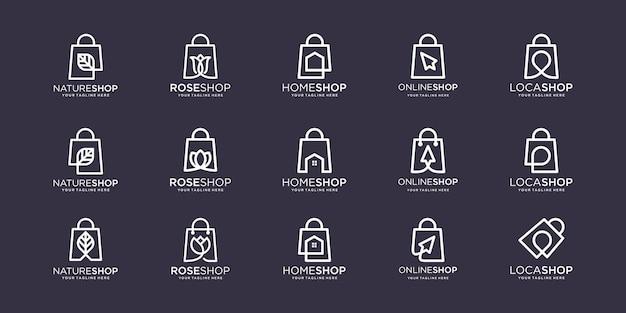 Conjunto de modelo de projetos de logotipo de saco.