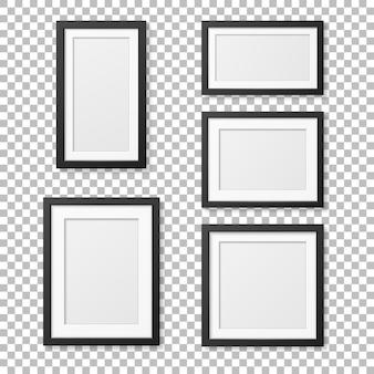 Conjunto de modelo de quadro de imagem em branco realista. .