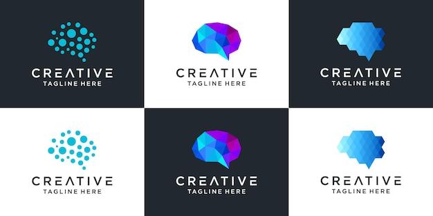 Conjunto de modelo de símbolo de ícone de logotipo de tecnologia do cérebro