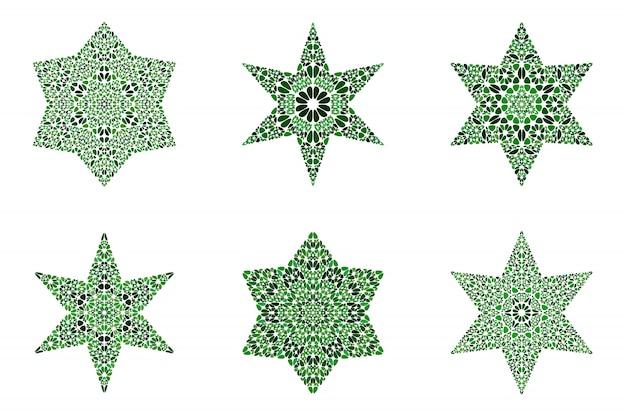 Conjunto de modelo de símbolo estrela floral isolado