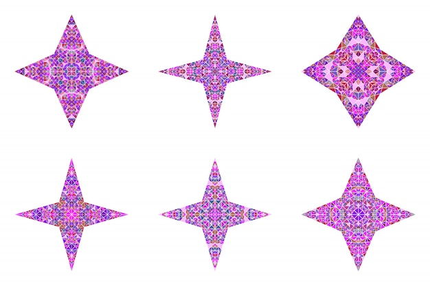Conjunto de modelo de símbolo estrela geométrico triângulo poligonal isolado