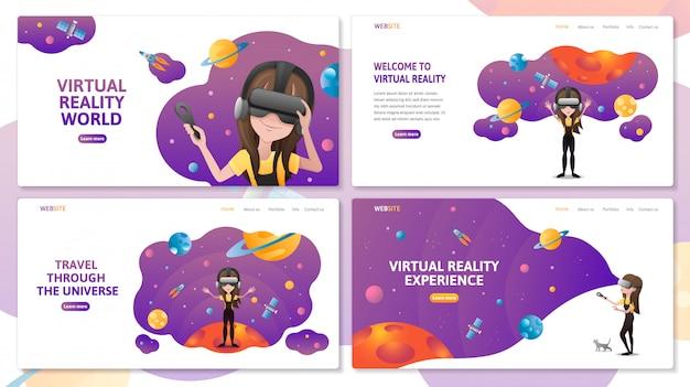 Conjunto de modelo de site de página de aterrissagem de tecnologia de realidade virtual. menina com vr auricular no espaço sideral com planetas e foguetes. ilustração plana