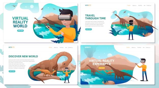 Conjunto de modelo de site de página de aterrissagem de tecnologia de realidade virtual, um garoto usando fone de ouvido vr no período dos dinossauros, conceito de ilustração plana para web design e desenvolvimento, app vr tecnologia