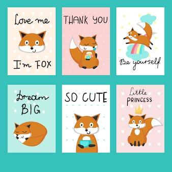 Conjunto de modelo de vetor de cartões de raposas bonito