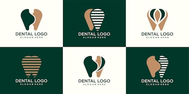 Conjunto de modelo de vetor de design abstrato de dente de logotipo de clínica odontológica estilo linear. ícone do conceito do logotipo do médico dentista
