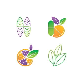 Conjunto de modelo de vetor de design de logotipo de folha