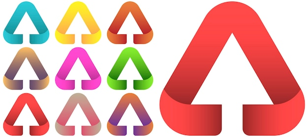 Conjunto de modelo de vetor de design de logotipo de seta.