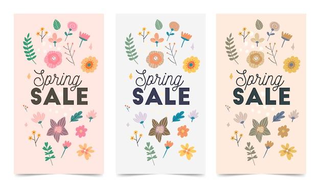Conjunto de modelo de vetor de flores da primavera para post no instagram, histórias
