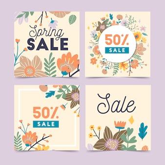 Conjunto de modelo de vetor de flores da primavera para venda pós instagram