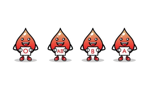 Conjunto de modelo de vetor de ilustração de ícone de desenho de mascote de sangue fofo