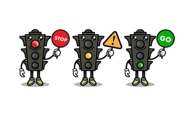 Conjunto de modelo de vetor de ilustração de ícone de desenho de semáforo fofo