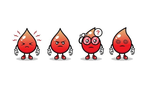 Conjunto de modelo de vetor de ilustração de ícone de design de mascote de sangue fofo