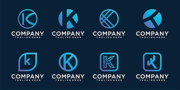 Conjunto de modelo de vetor de letra k de design de logotipo moderno alfabeto.