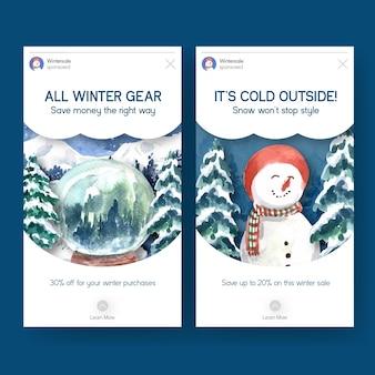 Conjunto de modelo do instagram com promoção de inverno para mídias sociais em estilo aquarela