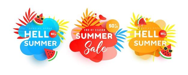 Conjunto de modelo editável de banner de venda de verão brilhante. banners geométricos em gradiente com formas líquidas e folhas tropicais