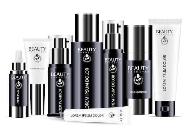 Conjunto de modelo em branco de frasco cosmético preto e branco
