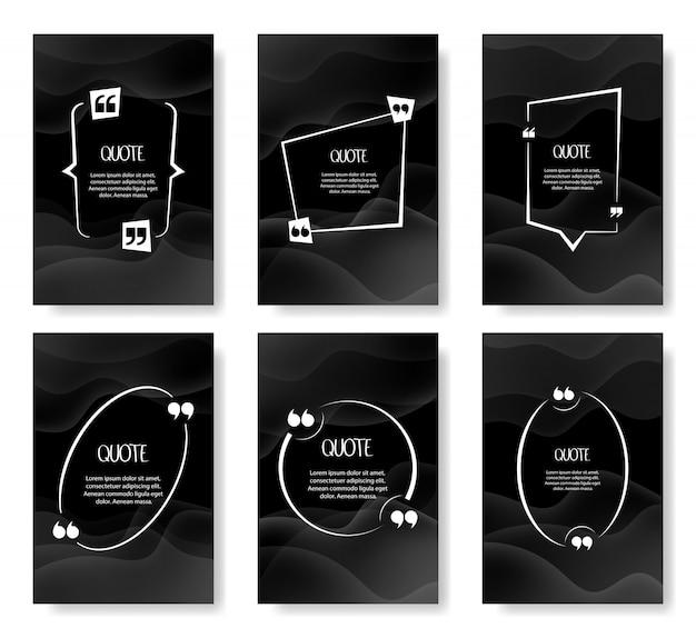 Conjunto de modelo em branco de quadros de citação. modelo em branco para o seu texto, citações do discurso em uma bolha vazia. ilustração