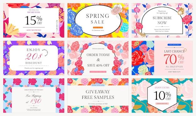 Conjunto de modelo feminino sale floral com banner de anúncio de moda de rosas coloridas