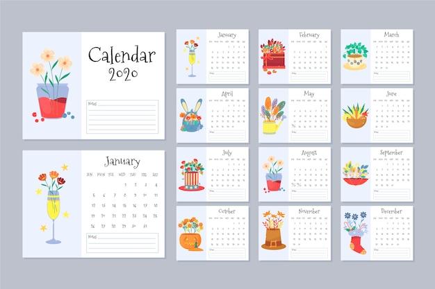 Conjunto de modelo floral calendário 2020
