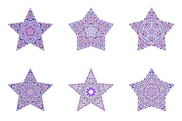 Conjunto de modelo geométrico estrela isolado mosaico floral
