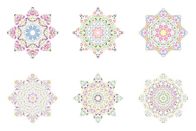 Conjunto de modelo isolado símbolo mosaico floral abstrato estrela