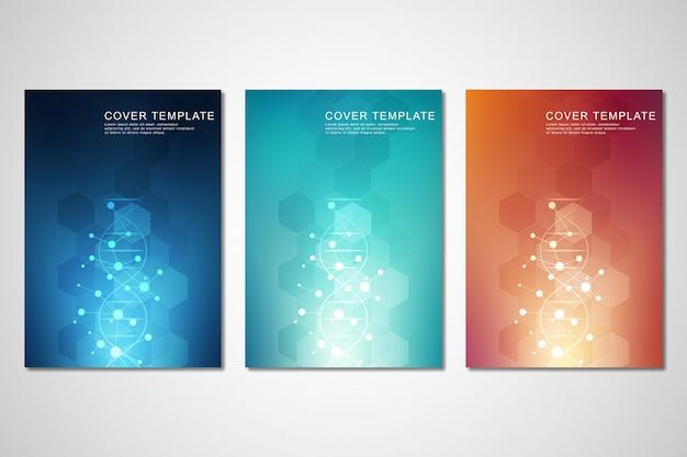 Conjunto de modelo para capa ou brochura, com fundo de moléculas e fita de dna
