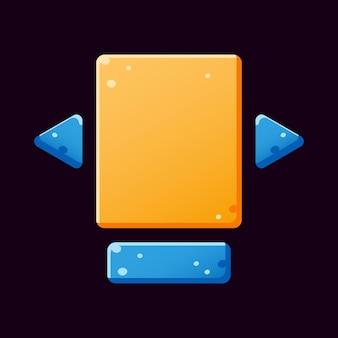 Conjunto de modelo pop-up de placa de interface do usuário de jogo amarelo azul engraçado para elementos de recursos de interface do usuário