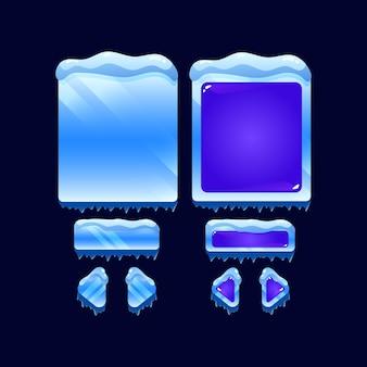 Conjunto de modelo pop-up de placa de interface do usuário de jogo de geléia de inverno de gelo para elementos de ativos de interface