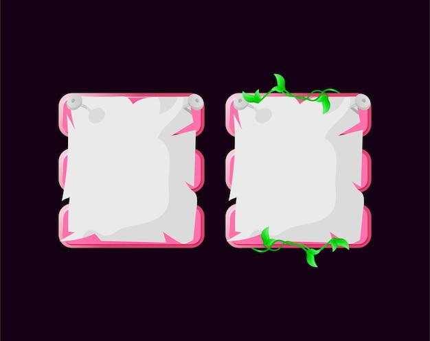 Conjunto de modelo pop-up de placa de interface do usuário de jogo de papel com folhas rosa para elementos de ativos de interface