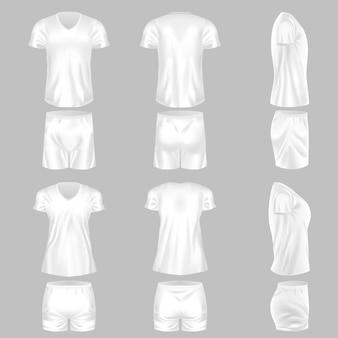 Conjunto de modelo realista de combinação de pijama feminino masculino com camisa e shorts. roupa branca confortável para dormir ou uso doméstico recreativo. vetor de maquete de roupas aconchegantes