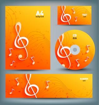 Conjunto de modelo s com notas musicais e chave.