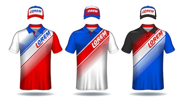 Conjunto de modelo uniforme, camisas polo e bonés.